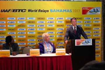 IAAF President Sebastian Coe in Nassau ahead of the IAAF/BTC World Relays Bahamas 2017 (IAAF)