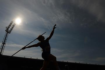 Sara Kolak in action in the javelin in Ostrava (AFP / Getty Images)
