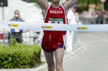 Aleksey Voyevodin (RUS) celebrates winning the 50km race in Naumburg (Getty Images)