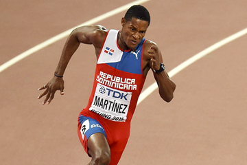 Yancarlos Martinez of the Dominican Republic in action in the 200m (AFP / Getty Images)
