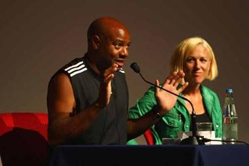 IAAF Ambassadors Mike Powell and Kajsa Bergqvist during the Masterclass (Getty Images)