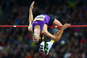 Gianmarco Tamberi in the high jump at the IAAF Diamond League meeting in London (Getty Images)