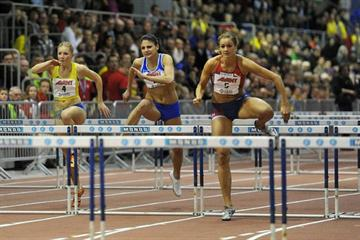 Christina Vukicevic wins the women's 60m Hurdles in 7.92 sec in Tampere (DECA Text&Bild)