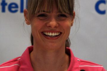 Silke Spiegelburg at the DKB ISTAF pre-meet Press Conference in Berlin (Bob Ramsak)