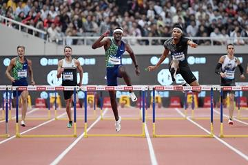Abderrahman Samba leads Rai Benjamin in the 400m hurdles at the IAAF Diamond League meeting in Shanghai (Errol Anderson)