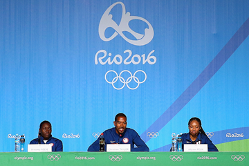 Brittney Reese, Christian Taylor and Allyson Felix at a press conference ahead of the Rio 2016 Olympic Games (Getty Images)