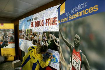 Athletes sign the Drug Free Banner at the IAAF Anti Doping Outreach programme in Ostrava (Getty Images)
