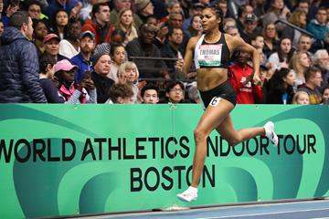 Gabby Thomas on her way to winning the 300m at the World Athletics Indoor Tour meeting in Boston (Victah Sailer)