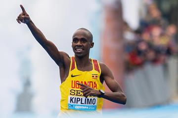 Jacob Kiplimo cruising to victory at the World Half Marathon Championships Gdynia 2020 (AFP/Getty Images)