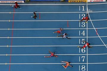 Action shot in the mens 400m Hurdles at the IAAF World Athletics Championships Moscow 2013 (Getty Images)