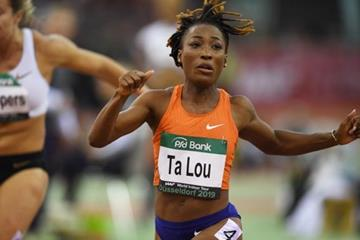 Marie-Josee Ta Lou wins the 60m at the IAAF World Indoor Tour meeting in Dusseldorf (Gladys Chai von der Laage)