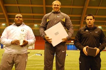 Discus Throw podium at 2010 Wexiö Indoor Throwing - Yasser Fathy, Gerd Kanter, Brett Morse (Bert Augustsson)