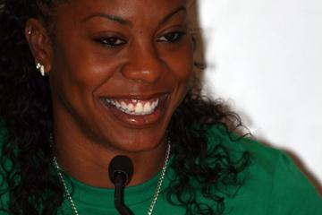 Sanya Richards at the DKB-ISTAF press conference on the eve of the AF Golden League kick-off in Berlin (Bob Ramsak)