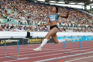 Malaika Mihambo flies to a 7.07m leap in the long jump at the IAAF Diamond League meeting in Rome (Jean-Pierre Durand)