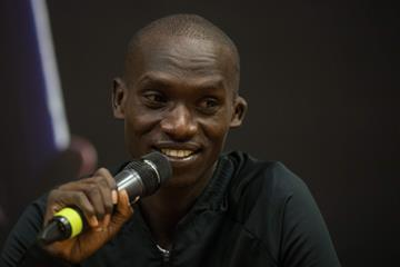 Joshua Cheptegei talks to the press in Ostrava (AFP / Getty Images)