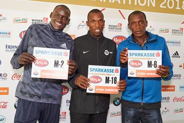 Dennis Kimetto, Nicholas Rotich and Ishmael Bushendich ahead of the Vienna City Marathon (VCM / Leo Hagen)