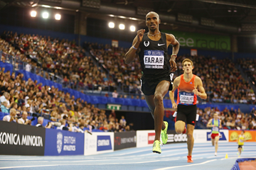 Mo Farah on his way to an assured victory in the 3000m in Birmingham (Getty Images)