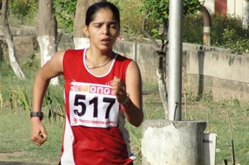 Khushbir Kaur on the way to an Indian national record in the 20km Race Walk at the Federation Cup in Patiala (Anu Kumar)