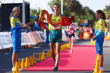 Dane Bird-Smith takes the Commonwealth 20km race walk title in Gold Coast (Getty Images)
