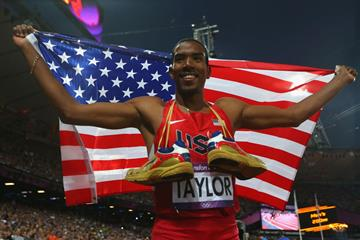 Christian Taylor celebrates after winning gold in the triple jump at the London 2012 Olympics (Getty Images)
