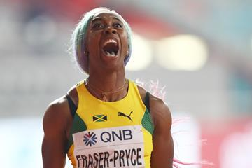 Shelly-Ann Fraser Pryce after winning her fourth 100m title (Getty Images)