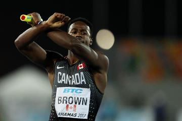 Aaron Brown of Canada celebrates winning gold in the men's 4x100m at the IAAF/BTC World Relays Bahamas 2017  (Getty Images)