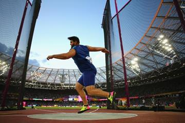 Mason Finley of the US in the discus at the IAAF World Championships London 2017 (Getty Images)