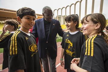 IAAF president Lamine Diack at the IAAF Kids Athletics programme in Monaco to mark the first ever International Day of Sport for Development and Peace (Philippe Fitte)