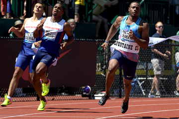 Ronnie Baker wins the 100m at the IAAF Diamond League meeting in Eugene (Kirby Lee)