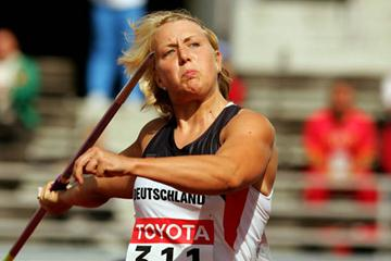 Christina Obergfoll of Germany qualifies for the Javelin Throw final (Getty Images)