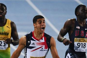 Adam Gemili of Great Britain wins his Men's 100 metres Final whereas Aaron Ernest (USA) is second, and Odean Skeen (JAM) has the third place on the day two of the 14th IAAF World Junior Championships in Barcelona  (Getty Images)