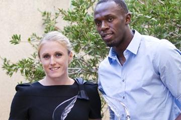 2011 World Athletes of the Year Sally Pearson and Usain Bolt (Philippe Fitte)