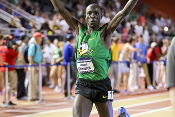 Edward Cheserek celebrates his victory at the NCAA Indoor Championships (Spencer Allen / Image of Sport)