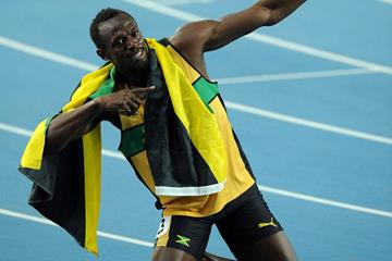 Usain Bolt of Jamaica celebrates after winning the gold medal in the men's 200 metres final in Daegu (Getty Images)