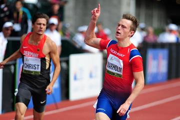 Karsten Warholm competing in the decathlon at the 2014 World Junior Championships (Getty Images)