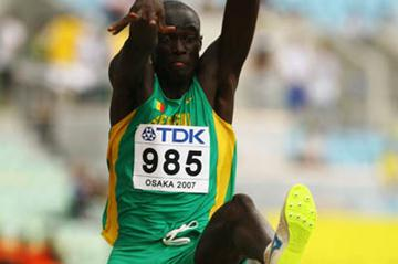 Ndiss Kaba Badji of Senegal in the Long Jump qualifications (Getty Images)