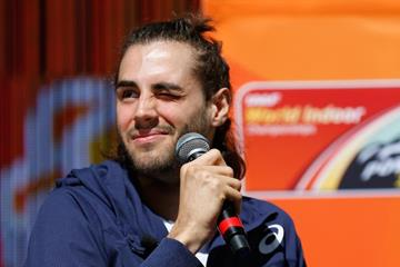 Gianmarco Tamberi at the press conference ahead of the IAAF World Indoor Championships Portland 2016 (Getty Images)