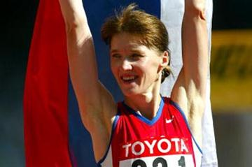 Yelena Nikolayeva celebrates after 20km Walk victory (Getty Images)