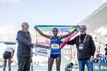 Roza Dereje after her victory at the Valencia Marathon (Organisers)