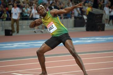 Usain Bolt at the 2013 IAAF Diamond League meeting in London (Kirby Lee)