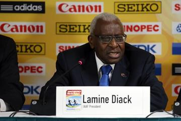 IAAF President Lamine Diack at the IAAF/BTC World Relays, Bahamas 2015 press conference (Getty Images)