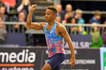 Raphael Holzdeppe after his victory in Karlsruhe (Jiro Mochizuki for the IAAF)