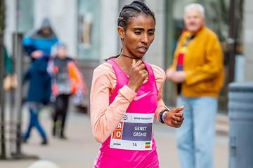 Genet Gashie on the way to victory at the Gdynia Half Marathon  (Organisers)