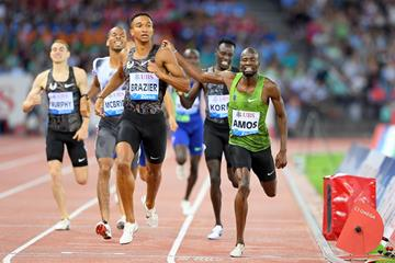 Donavan Brazier wins the 800m at the IAAF Diamond League final in Zurich (Jiro Mochizuki)