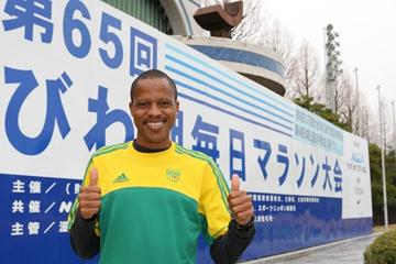 Hendrick Ramaala on the eve of the 2010 Lake Biwa Marathon (Victah Sailer)