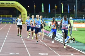 Wycliffe Kinyamal winning the Rovereto 800m (Organisers)