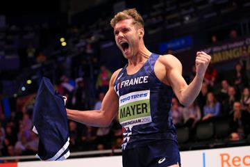 Kevin Mayer after securing heptathlon gold at the IAAF World Indoor Championships Birmingham 2018 (Getty Images)