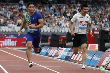 Japanese sprinters Yuki Koike and Yoshihide Kiryu (AFP/Getty Images)
