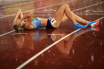 Niamh Emerson after winning the heptathlon at the IAAF World U20 Championships Tampere 2018 (Getty Images)