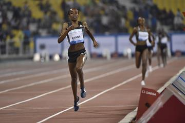 Almaz Ayana winning the 3000m at the 2016 IAAF Diamond League meeting in Doha (Hasse Sjogren)